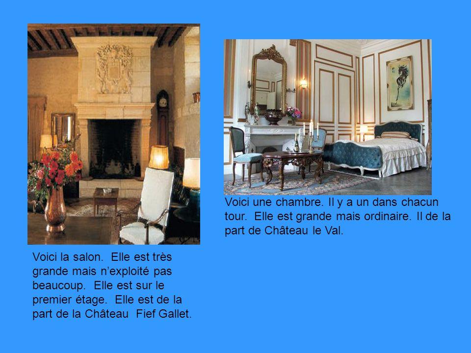 Voici une chambre. Il y a un dans chacun tour. Elle est grande mais ordinaire. Il de la part de Château le Val. Voici la salon. Elle est très grande m