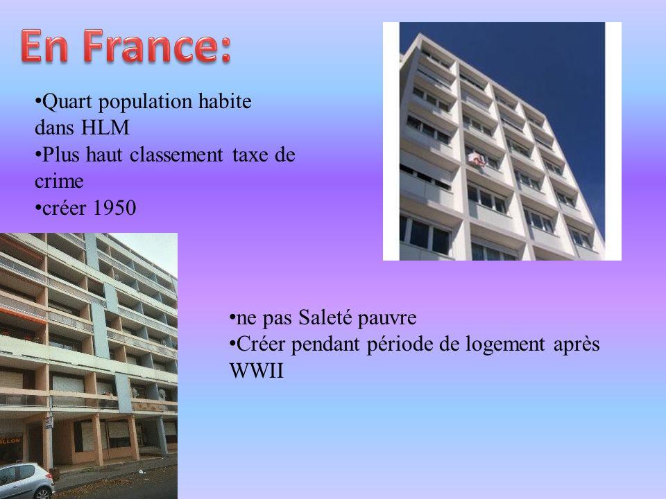 • Quart population habite dans HLM • Plus haut classement taxe de crime • créer 1950 • ne pas Saleté pauvre • Créer pendant période de logement après WWII