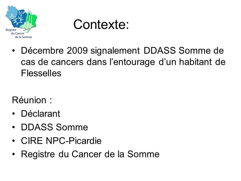 Contexte: •Décembre 2009 signalement DDASS Somme de cas de cancers dans l'entourage d'un habitant de Flesselles Réunion : •Déclarant •DDASS Somme •CIRE NPC-Picardie •Registre du Cancer de la Somme