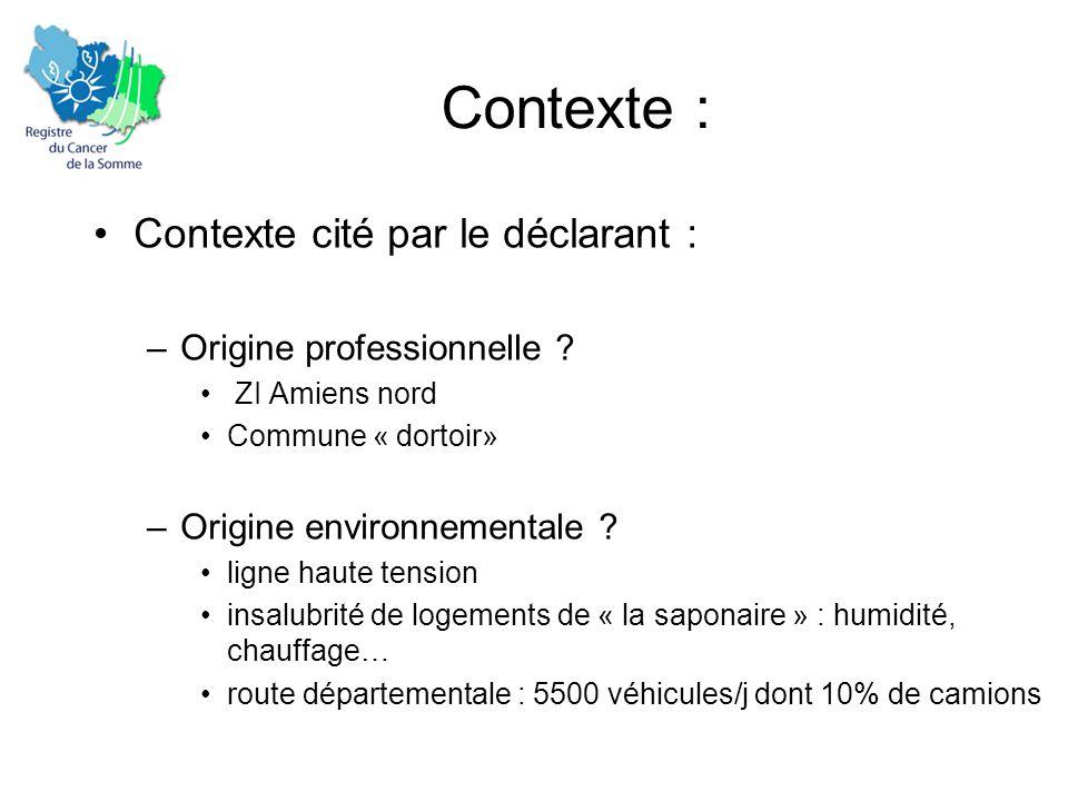 Contexte : •Contexte cité par le déclarant : –Origine professionnelle ? • ZI Amiens nord •Commune « dortoir» –Origine environnementale ? •ligne haute
