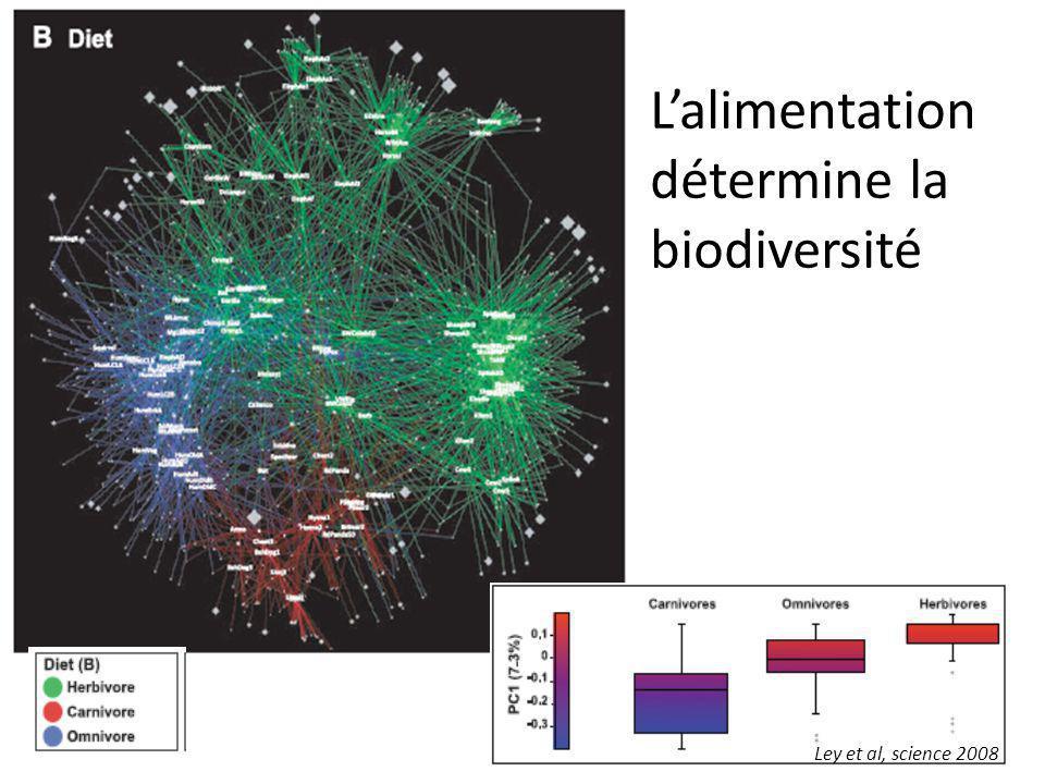 Ley et al, science 2008 L'alimentation détermine la biodiversité