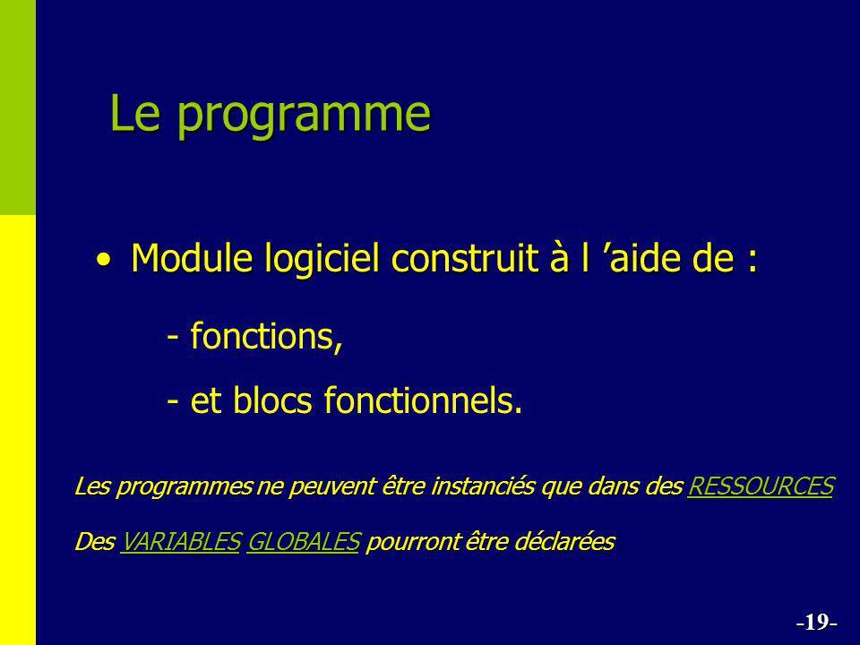 Le programme •Module logiciel construit à l 'aide de : - fonctions, - et blocs fonctionnels. -19- Les programmes ne peuvent être instanciés que dans d