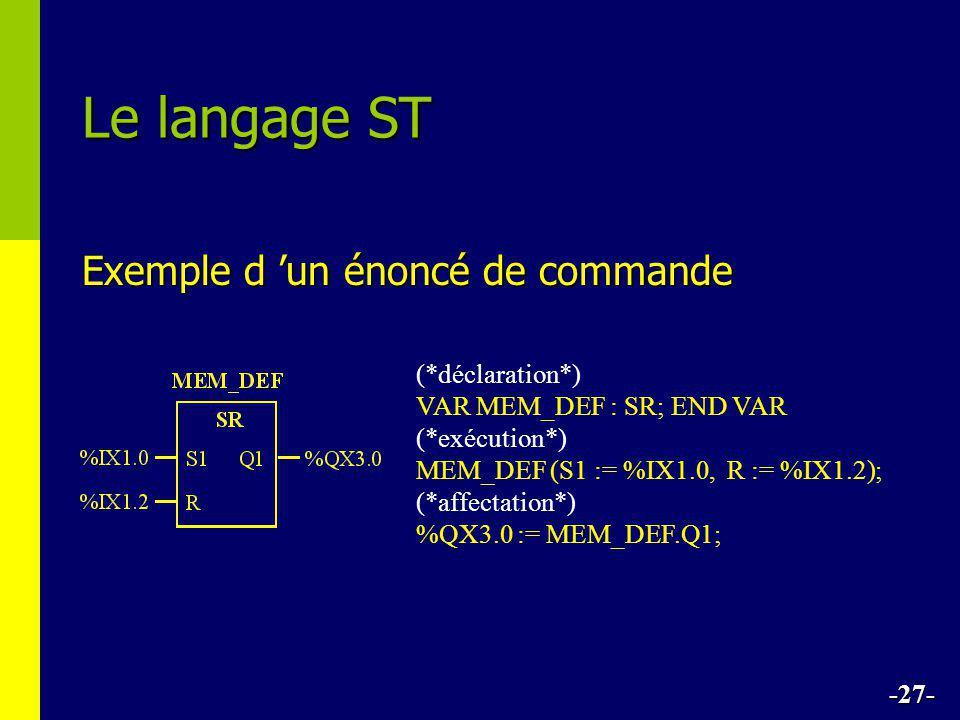 Exemple d 'un énoncé de commande Le langage ST -27- (*déclaration*) VAR MEM_DEF : SR; END VAR (*exécution*) MEM_DEF (S1 := %IX1.0, R := %IX1.2); (*aff
