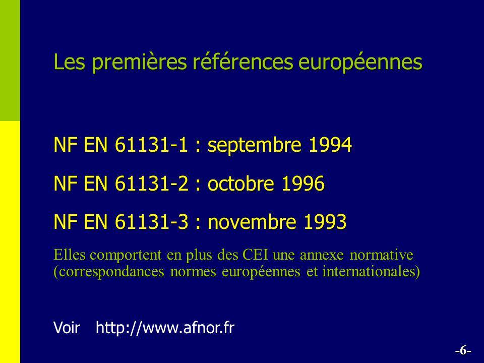 Les premières références européennes NF EN 61131-1 : septembre 1994 NF EN 61131-2 : octobre 1996 NF EN 61131-3 : novembre 1993 Voir http://www.afnor.f