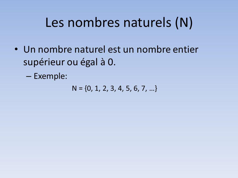 Les nombres naturels (N) • Un nombre naturel est un nombre entier supérieur ou égal à 0. – Exemple: N = {0, 1, 2, 3, 4, 5, 6, 7, …}