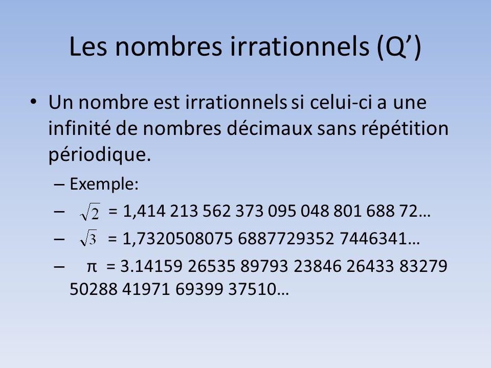Les nombres irrationnels (Q') • Un nombre est irrationnels si celui-ci a une infinité de nombres décimaux sans répétition périodique.