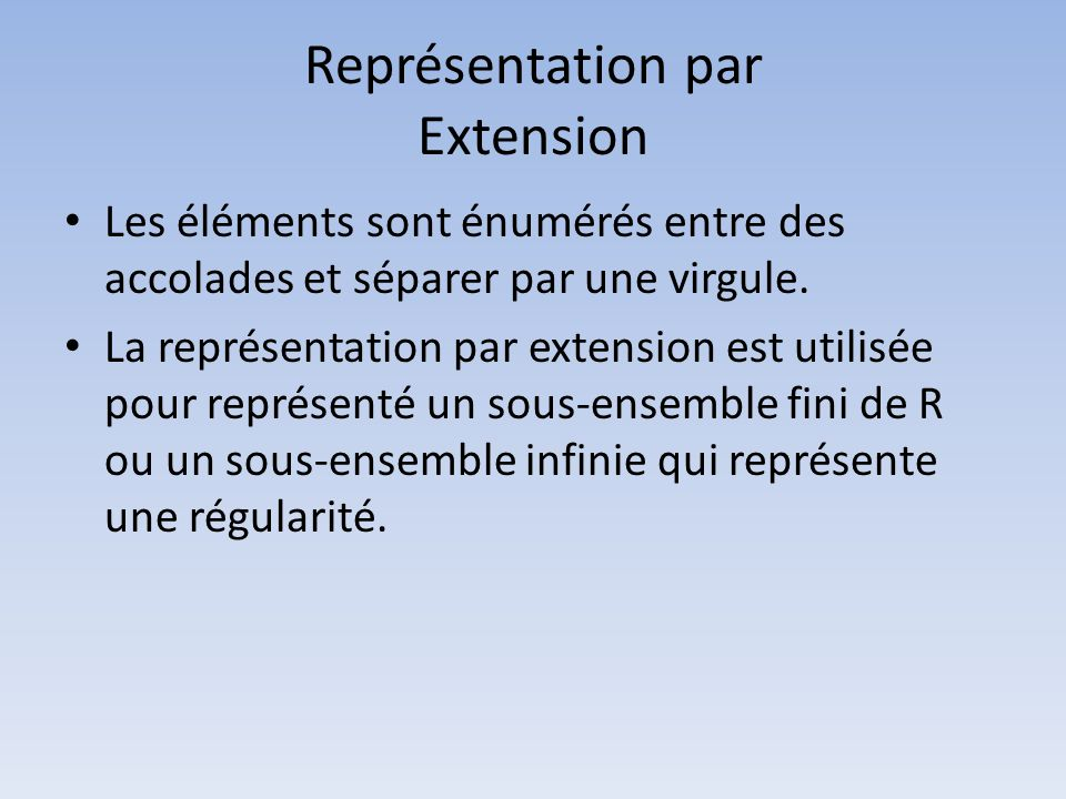 Représentation par Extension • Les éléments sont énumérés entre des accolades et séparer par une virgule. • La représentation par extension est utilis