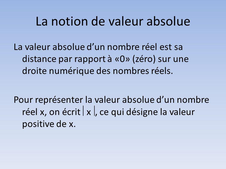 La notion de valeur absolue La valeur absolue d'un nombre réel est sa distance par rapport à «0» (zéro) sur une droite numérique des nombres réels.
