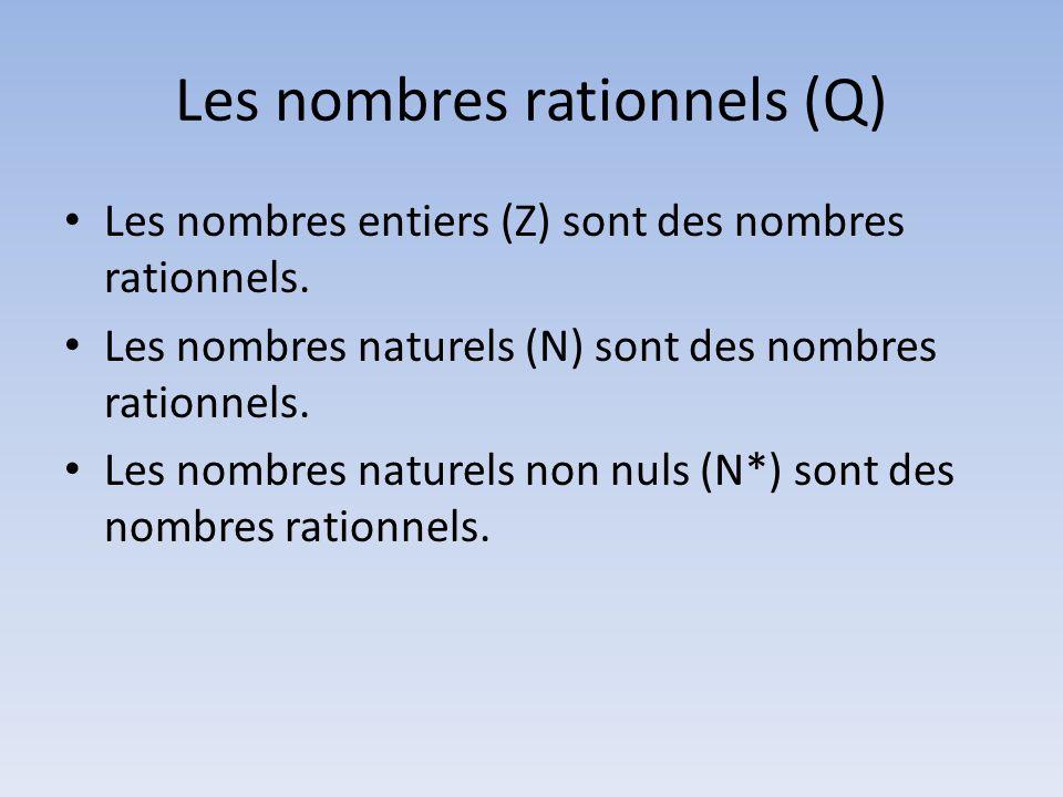Les nombres rationnels (Q) • Les nombres entiers (Z) sont des nombres rationnels. • Les nombres naturels (N) sont des nombres rationnels. • Les nombre