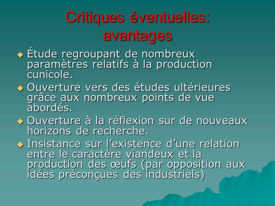 Critiques éventuelles: avantages  Étude regroupant de nombreux paramètres relatifs à la production cunicole.  Ouverture vers des études ultérieures