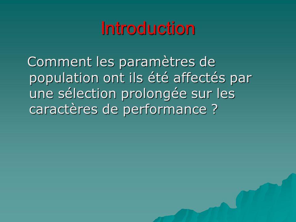 Introduction Comment les paramètres de population ont ils été affectés par une sélection prolongée sur les caractères de performance ? Comment les par