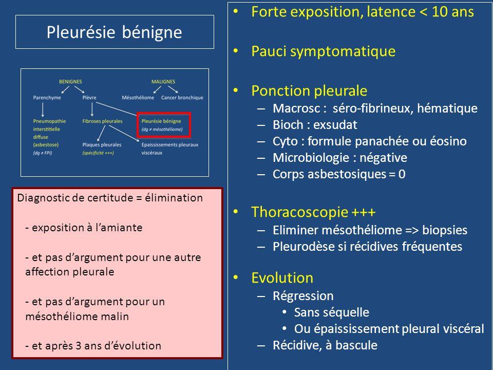 Pleurésie bénigne • Forte exposition, latence < 10 ans • Pauci symptomatique • Ponction pleurale – Macrosc : séro-fibrineux, hématique – Bioch : exsud