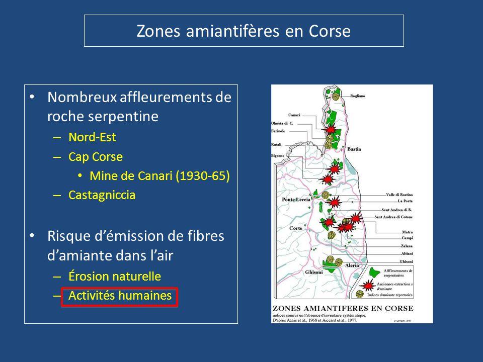 Zones amiantifères en Corse • Nombreux affleurements de roche serpentine – Nord-Est – Cap Corse • Mine de Canari (1930-65) – Castagniccia • Risque d'é