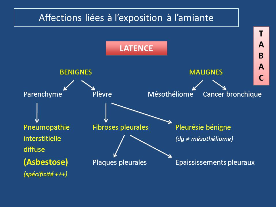 Affections liées à l'exposition à l'amiante BENIGNES MALIGNES ParenchymePlèvreMésothéliomeCancer bronchique PneumopathieFibroses pleuralesPleurésie bé