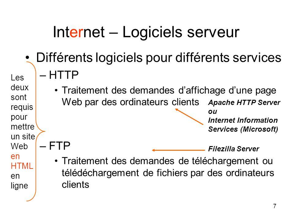 7 •Différents logiciels pour différents services –HTTP •Traitement des demandes d'affichage d'une page Web par des ordinateurs clients –FTP •Traitement des demandes de téléchargement ou télédéchargement de fichiers par des ordinateurs clients Internet – Logiciels serveur Apache HTTP Server ou Internet Information Services (Microsoft) Filezilla Server Les deux sont requis pour mettre un site Web en HTML en ligne