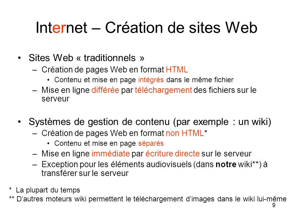 9 Internet – Création de sites Web •Sites Web « traditionnels » –Création de pages Web en format HTML •Contenu et mise en page intégrés dans le même fichier –Mise en ligne différée par téléchargement des fichiers sur le serveur •Systèmes de gestion de contenu (par exemple : un wiki) –Création de pages Web en format non HTML* •Contenu et mise en page séparés –Mise en ligne immédiate par écriture directe sur le serveur –Exception pour les éléments audiovisuels (dans notre wiki**) à transférer sur le serveur * La plupart du temps ** D'autres moteurs wiki permettent le téléchargement d'images dans le wiki lui-même