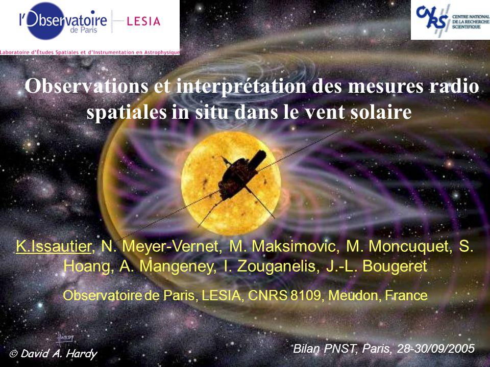 Bilan PNST, Paris, 28-30/09/2005  David A. Hardy Observations et interprétation des mesures radio spatiales in situ dans le vent solaire Observatoire