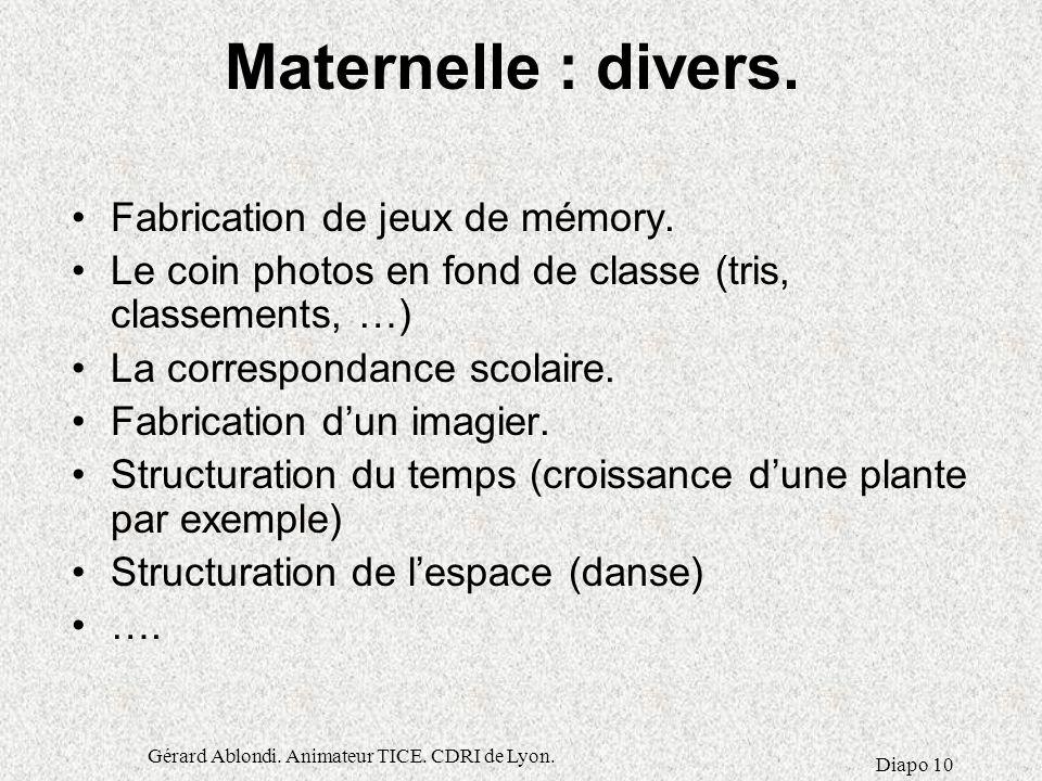 Gérard Ablondi.Animateur TICE. CDRI de Lyon. Diapo 10 Maternelle : divers.