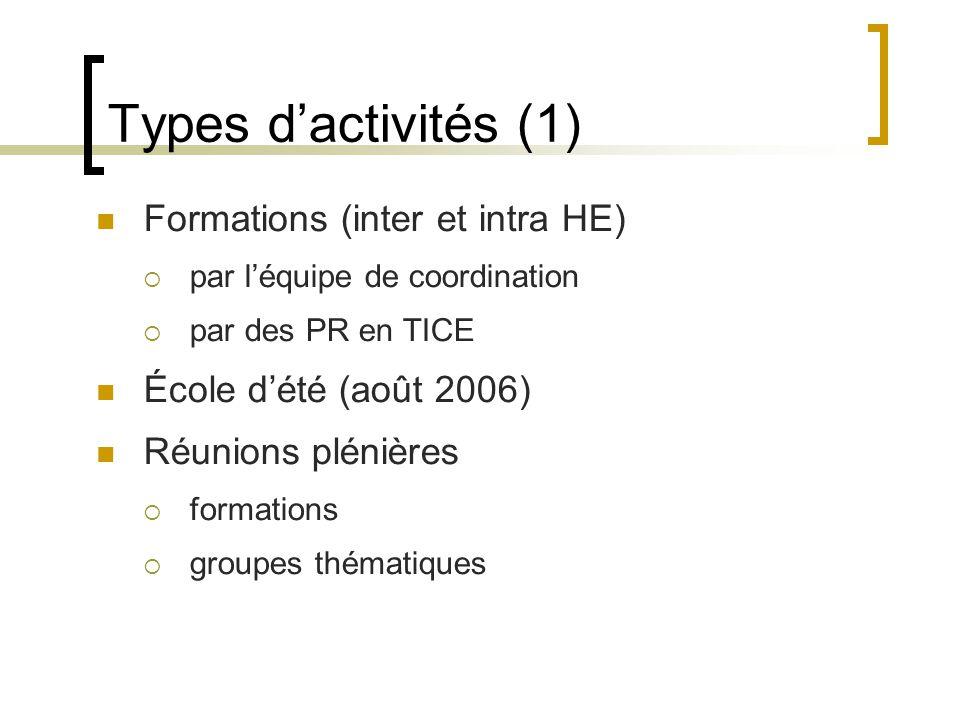 Types d'activités (1)  Formations (inter et intra HE)  par l'équipe de coordination  par des PR en TICE  École d'été (août 2006)  Réunions plénières  formations  groupes thématiques