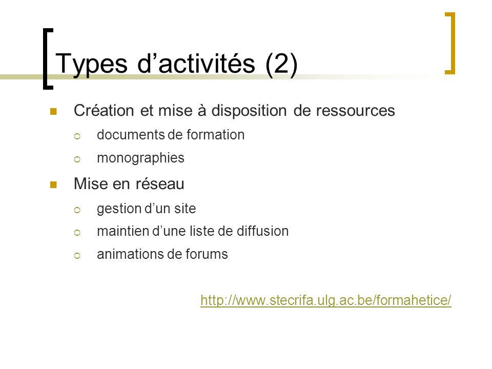 Types d'activités (2)  Création et mise à disposition de ressources  documents de formation  monographies  Mise en réseau  gestion d'un site  maintien d'une liste de diffusion  animations de forums http://www.stecrifa.ulg.ac.be/formahetice/