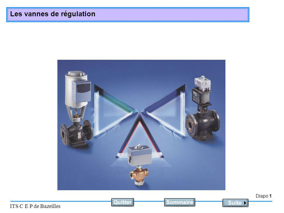 Diapo 2 ITS C E P de Bazeilles Les vannes de régulation Le matériel Elles effectuent le réglage nécessaire au maintien du point de consigne.