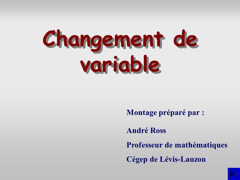 Montage préparé par : André Ross Professeur de mathématiques Cégep de Lévis-Lauzon Changement de variable Changement de variable