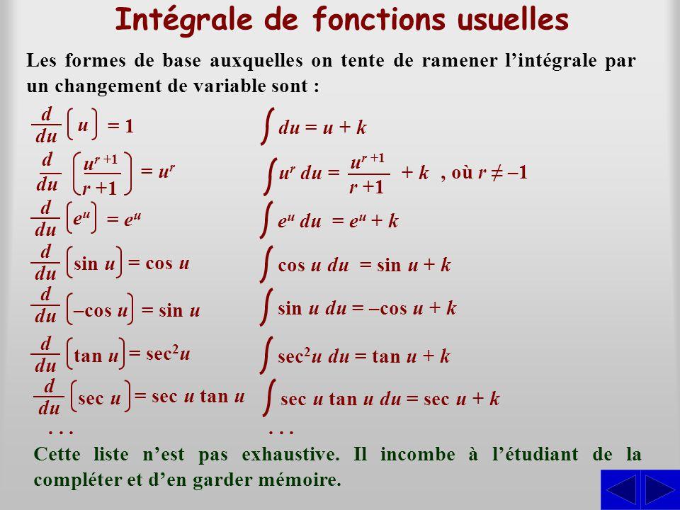 Intégrale de fonctions usuelles Les formes de base auxquelles on tente de ramener l'intégrale par un changement de variable sont : du = u + ke u du =