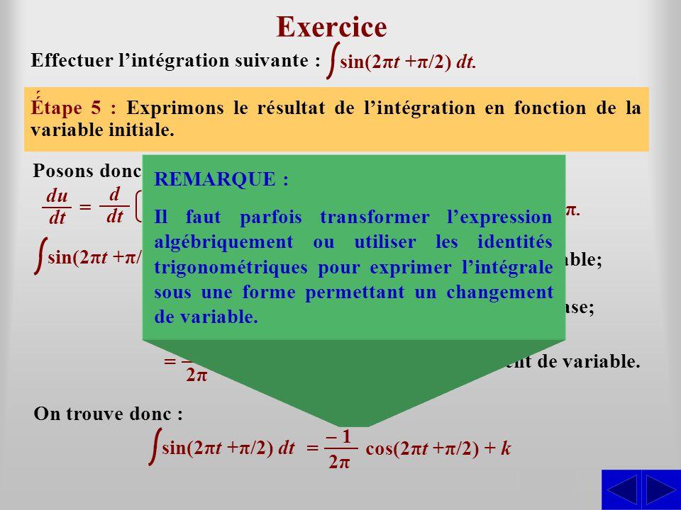 sin(2πt +π/2) dt Exercice Effectuer l'intégration suivante : Étape 1 : L'intégrale n'est pas sous une forme directement intégrable. La forme de base s