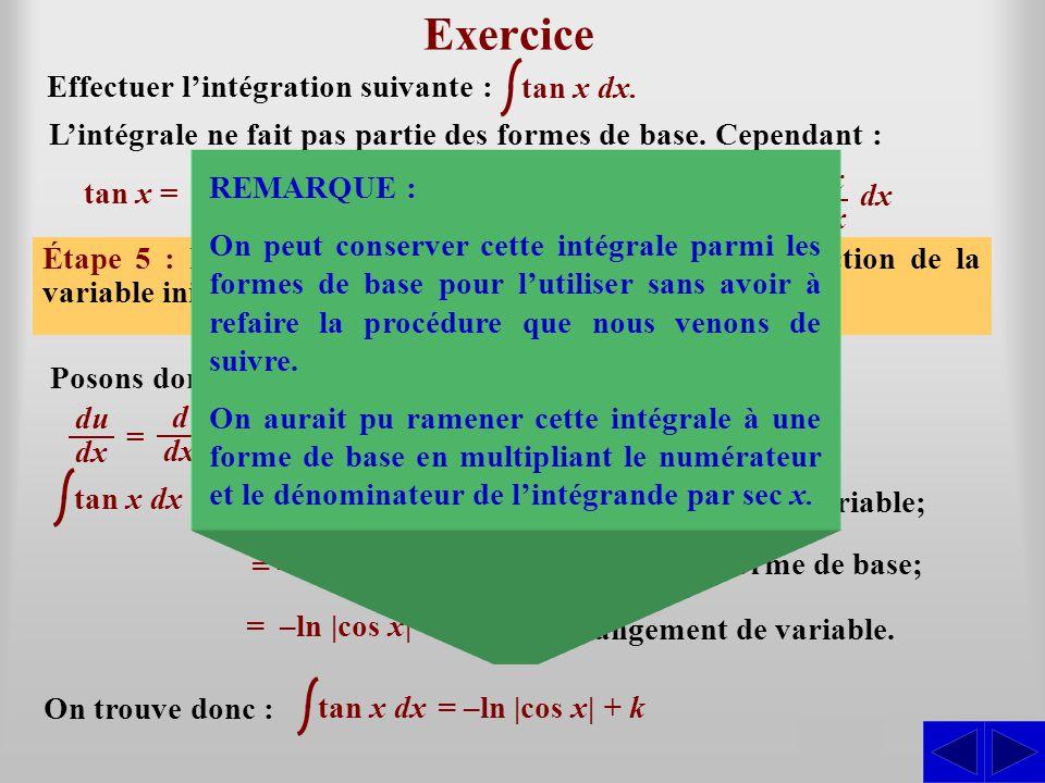 tan x dx Exercice Effectuer l'intégration suivante : Étape 1 : L'intégrale n'est pas sous une forme directement intégrable. La forme de base pourrait