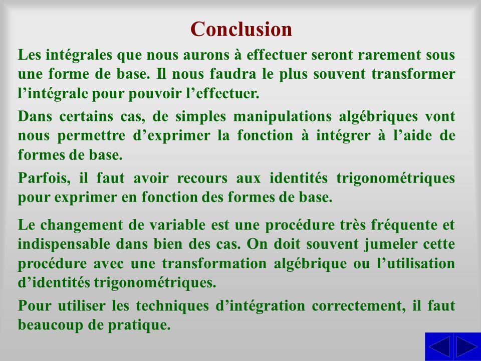 Conclusion Les intégrales que nous aurons à effectuer seront rarement sous une forme de base. Il nous faudra le plus souvent transformer l'intégrale p