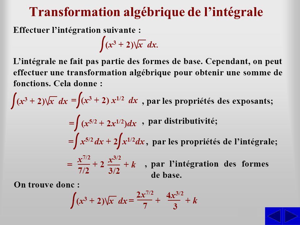 S Transformation algébrique de l'intégrale Effectuer l'intégration suivante : L'intégrale ne fait pas partie des formes de base. Cependant, on peut ef