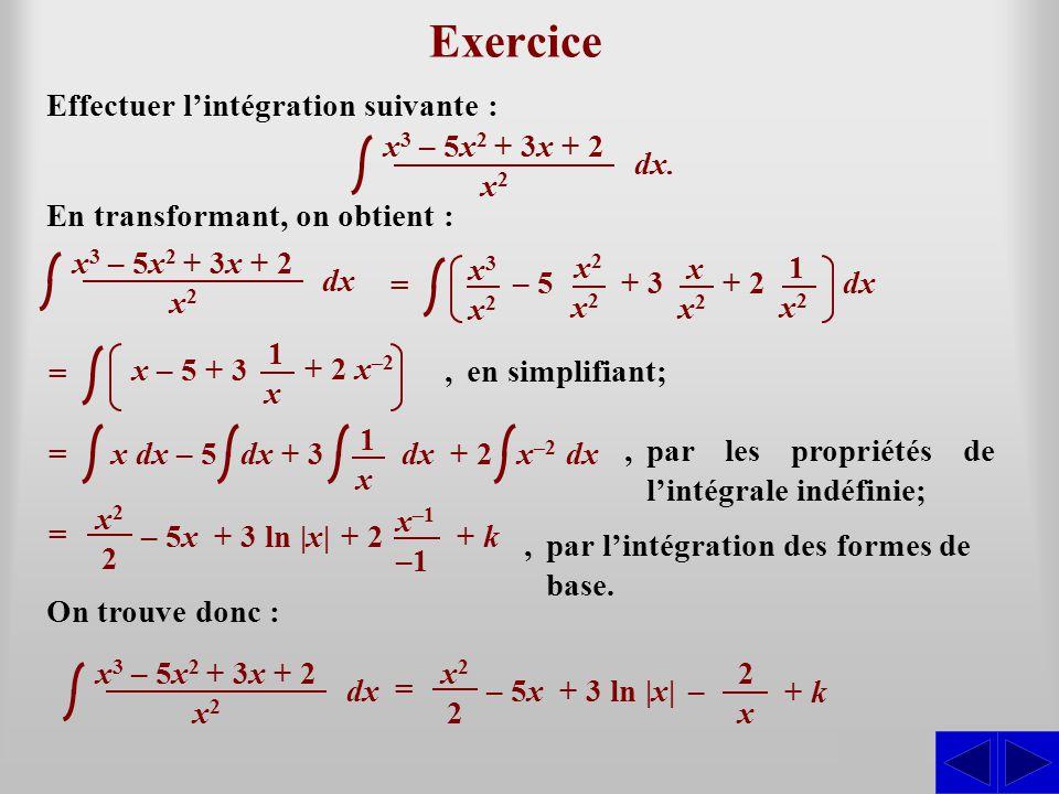 S Exercice Effectuer l'intégration suivante : En transformant, on obtient :,en simplifiant;,par les propriétés de l'intégrale indéfinie;,par l'intégra