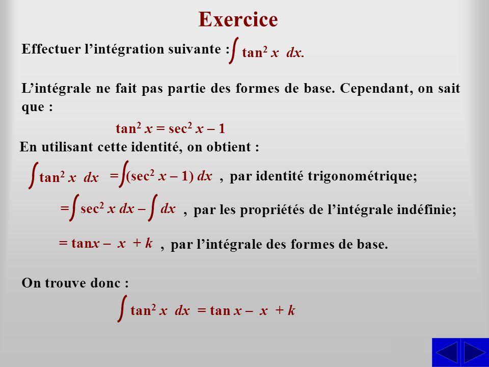 S Exercice Effectuer l'intégration suivante : L'intégrale ne fait pas partie des formes de base. Cependant, on sait que : tan 2 x = sec 2 x – 1,par id