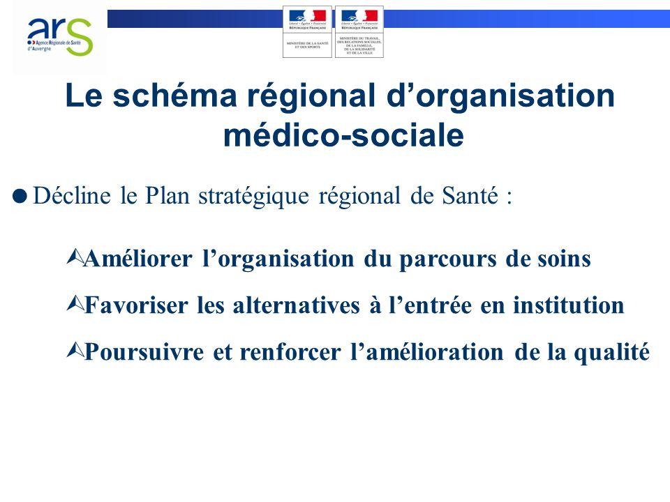 Le schéma régional d'organisation médico-sociale Ù Améliorer l'organisation du parcours de soins Ù Favoriser les alternatives à l'entrée en institutio