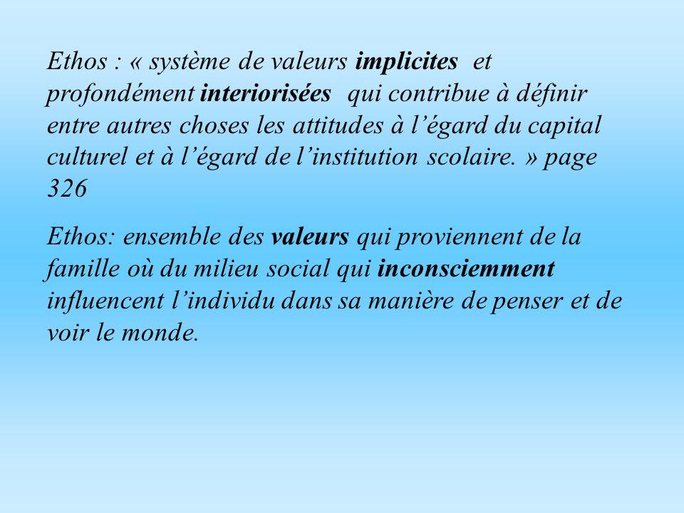 Habitus L`habitus est l`adaption exacte des dispositions, des attitudes et des schemas de comportement à l`environnement social. C`est le produit d`un