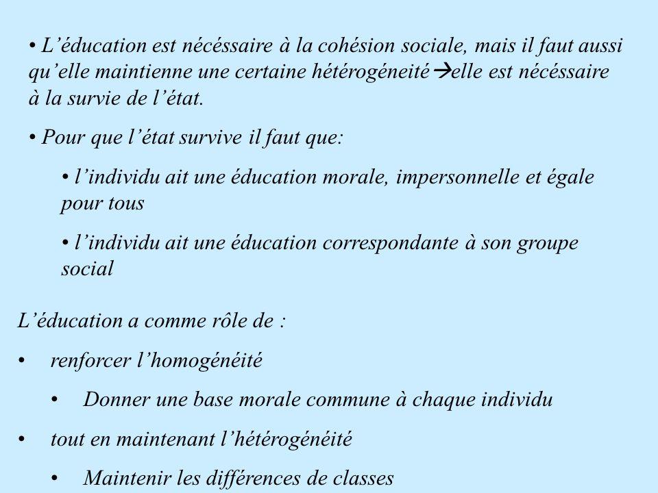 L'Éducation varie selon •Le pays •Le temps; Elle • Exprime la nécessité de cohésion sociale • Est le produit de cette nécéssité, Elle est devenue nécé