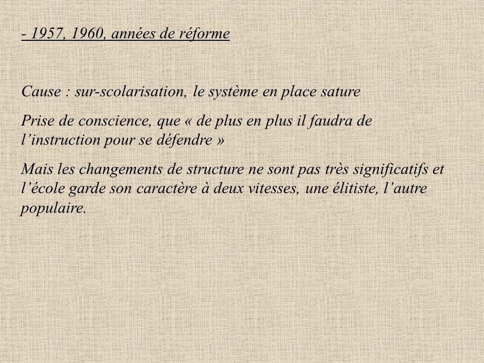 -1947 : Réforme de Langevin-Wallon But : - lutter contre la disparité de l'enseignement - favoriser l'égalité des chances a)scolarité obligatoire de 6