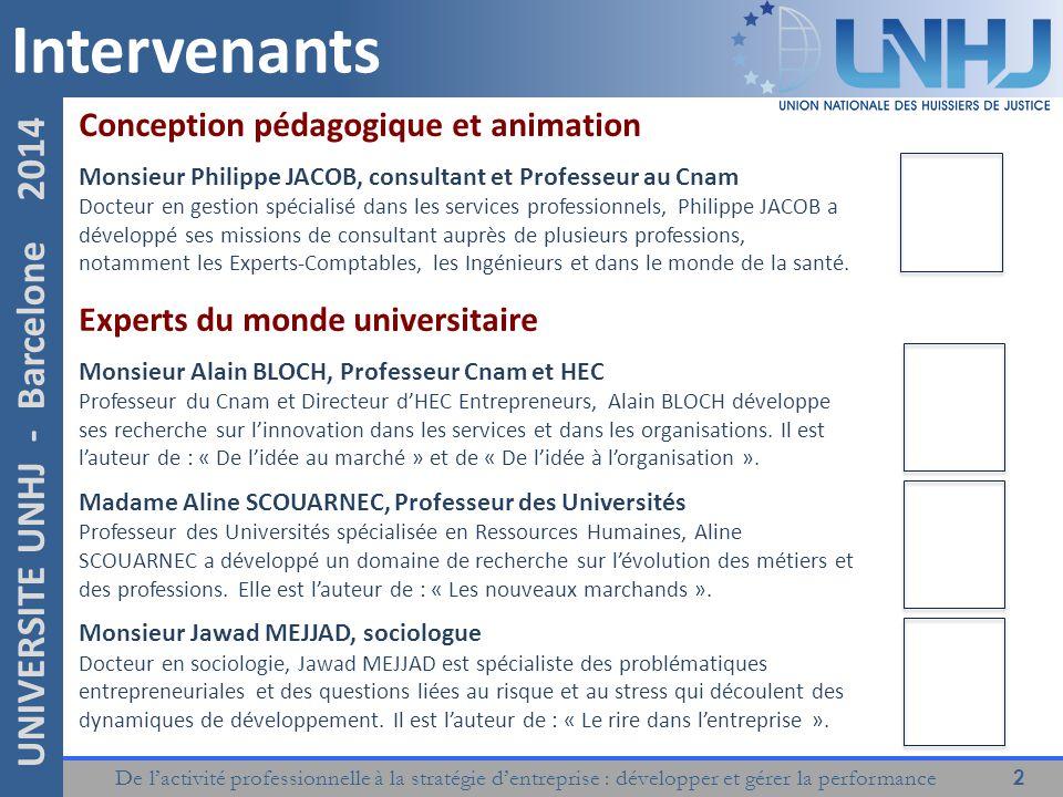 De l'activité professionnelle à la stratégie d'entreprise : développer et gérer la performance 2 UNIVERSITE UNHJ - Barcelone 2014 Intervenants Concept