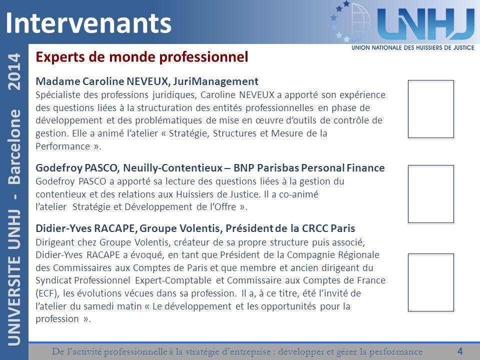 De l'activité professionnelle à la stratégie d'entreprise : développer et gérer la performance 4 UNIVERSITE UNHJ - Barcelone 2014 Intervenants Experts