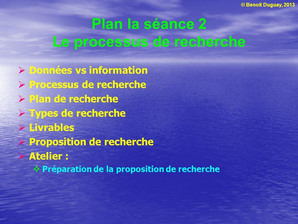 © Benoit Duguay, 2013 Plan la séance 2 Le processus de recherche  Données vs information  Processus de recherche  Plan de recherche  Types de rech