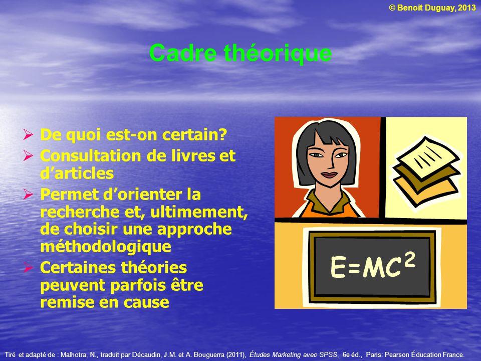 © Benoit Duguay, 2013 Cadre théorique  De quoi est-on certain?  Consultation de livres et d'articles  Permet d'orienter la recherche et, ultimement