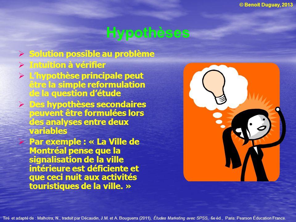 © Benoit Duguay, 2013 Hypothèses  Solution possible au problème  Intuition à vérifier  L'hypothèse principale peut être la simple reformulation de