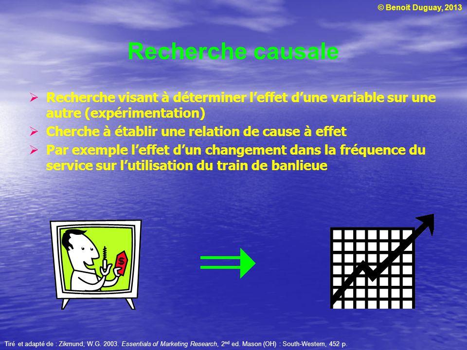 © Benoit Duguay, 2013 Recherche causale  Recherche visant à déterminer l'effet d'une variable sur une autre (expérimentation)  Cherche à établir une
