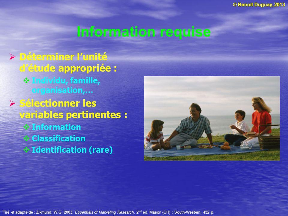 © Benoit Duguay, 2013 Information requise  Déterminer l'unité d'étude appropriée :  Individu, famille, organisation,…  Sélectionner les variables p