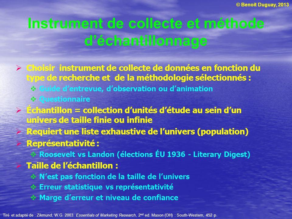 © Benoit Duguay, 2013 Instrument de collecte et méthode d'échantillonnage  Choisir instrument de collecte de données en fonction du type de recherche
