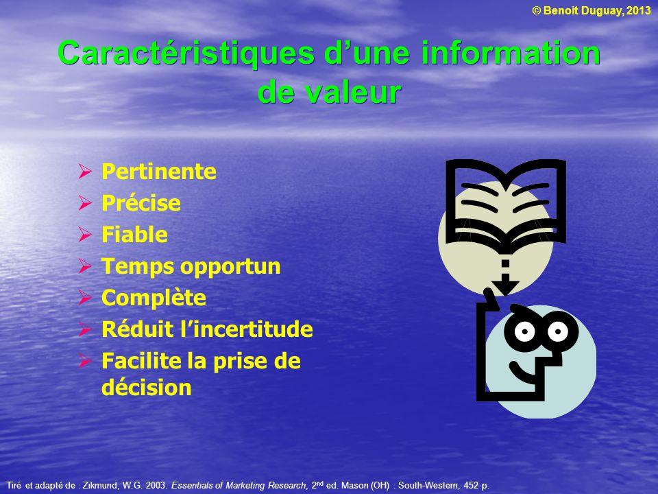 © Benoit Duguay, 2013 Caractéristiques d'une information de valeur  Pertinente  Précise  Fiable  Temps opportun  Complète  Réduit l'incertitude
