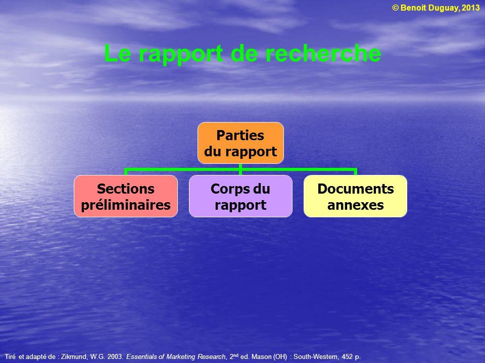 © Benoit Duguay, 2013 Le rapport de recherche Tiré et adapté de : Zikmund, W.G. 2003. Essentials of Marketing Research, 2 nd ed. Mason (OH) : South-We
