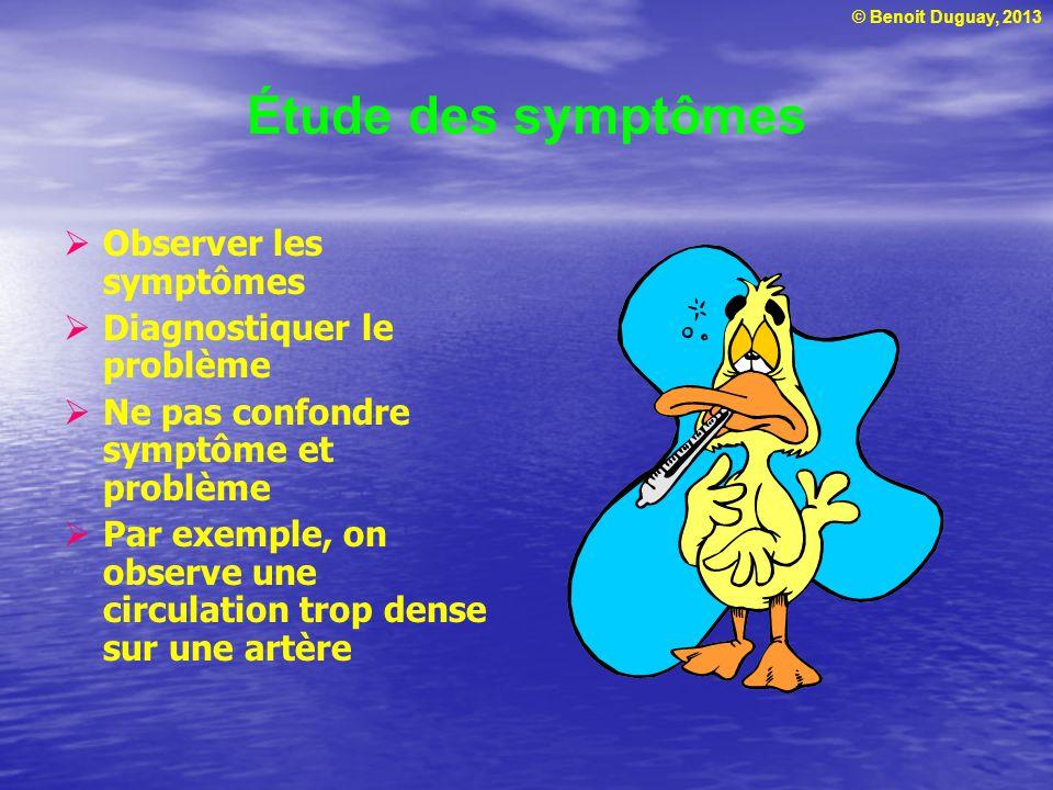 © Benoit Duguay, 2013 Étude des symptômes  Observer les symptômes  Diagnostiquer le problème  Ne pas confondre symptôme et problème  Par exemple,