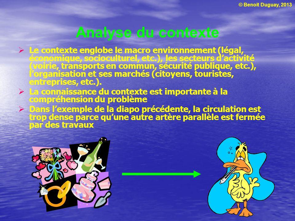 © Benoit Duguay, 2013 Analyse du contexte  Le contexte englobe le macro environnement (légal, économique, socioculturel, etc.), les secteurs d'activi