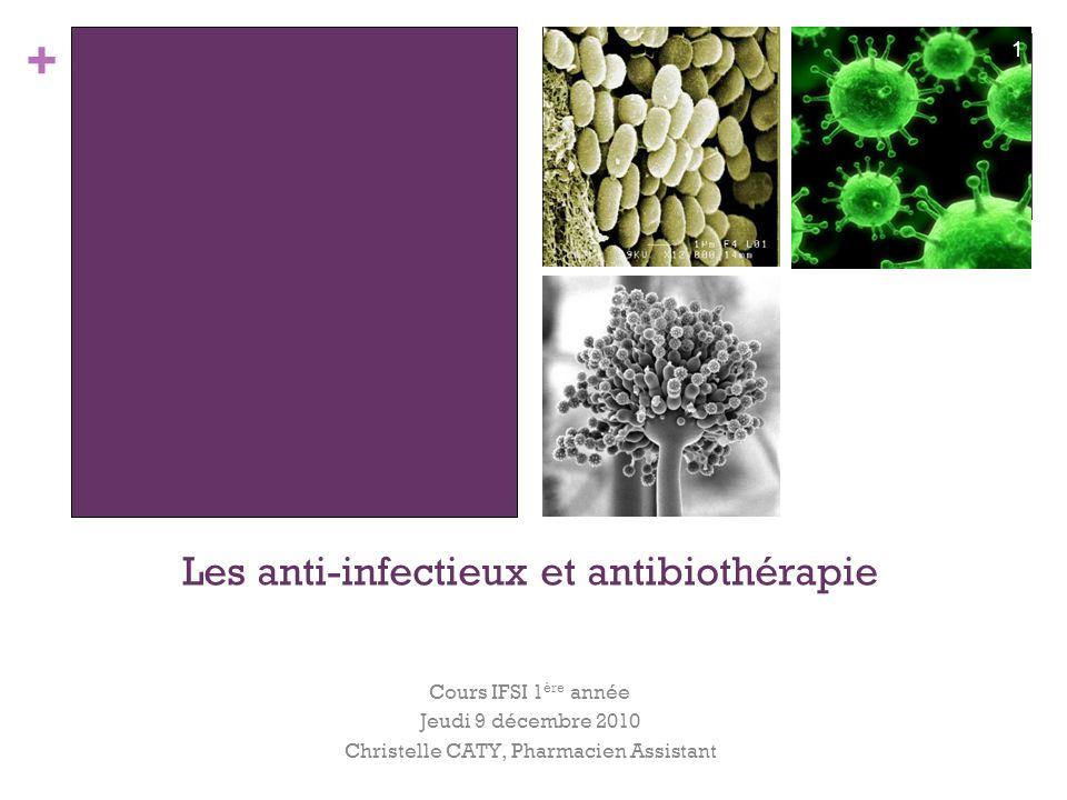+ Les anti-infectieux et antibiothérapie Cours IFSI 1 ère année Jeudi 9 décembre 2010 Christelle CATY, Pharmacien Assistant 1